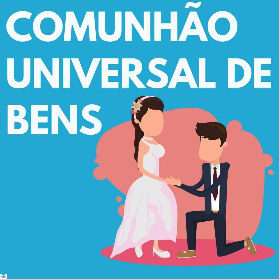 comunhão universal de bens em branco, com fundo azul e um homem pedindo em casamento