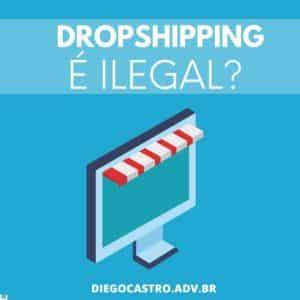 Dropshipping é ilegal em branco com fundo azul