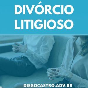 foto de casal se separando e o titulo divórcio litigioso em branco