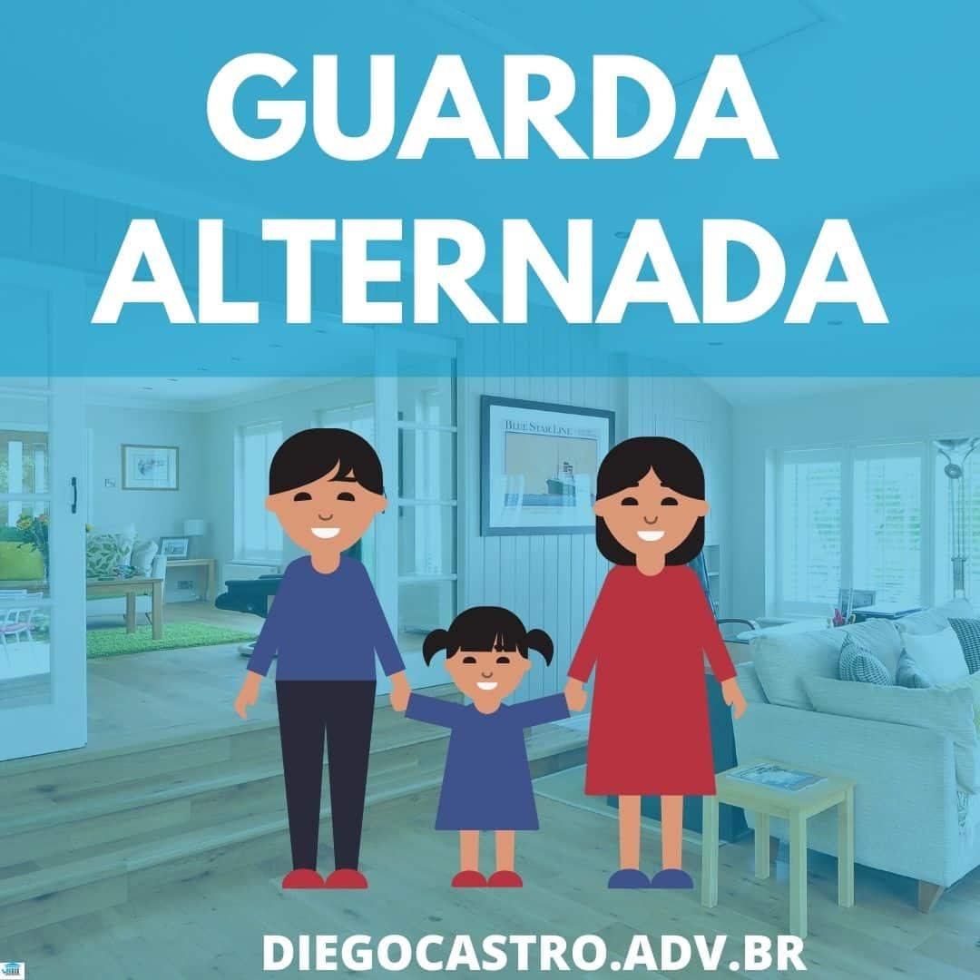foto de uma casa com desenho de dois pais e uma criança e o titulo em azul escrito guarda alternada