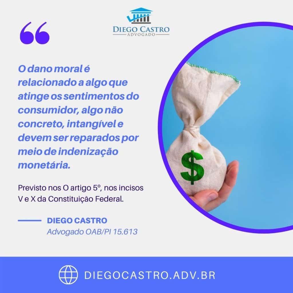 O dano moral é relacionado a algo que atinge os sentimentos do consumidor, algo não concreto, intangível e devem ser reparados por meio de indenização monetária.