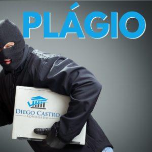 homem roubando laptop com a palavra plágio em azul