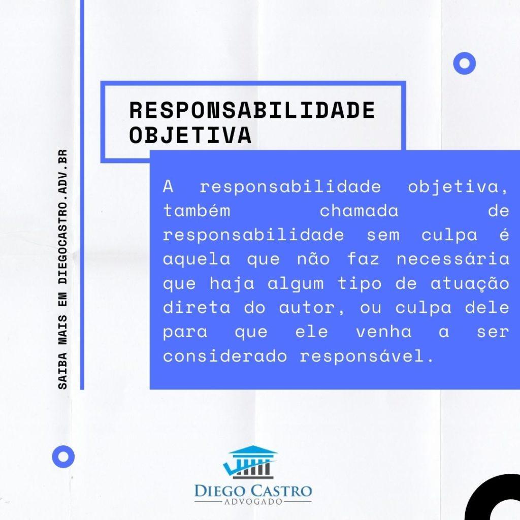 A responsabilidade objetiva, também chamada de responsabilidade sem culpa é aquela que não faz necessária que haja algum tipo de atuação direta do autor, ou culpa dele para que ele venha a ser considerado responsável.