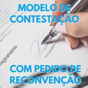 foto de uma petição sendo assinada com o titulo em azul Modelo de Contestação com Pedido de Reconvenção