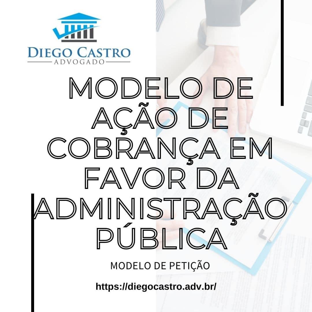 foto de fundo com advogado entregando documento e titulo com Modelo de ação de cobrança em favor da administração pública e logo do site