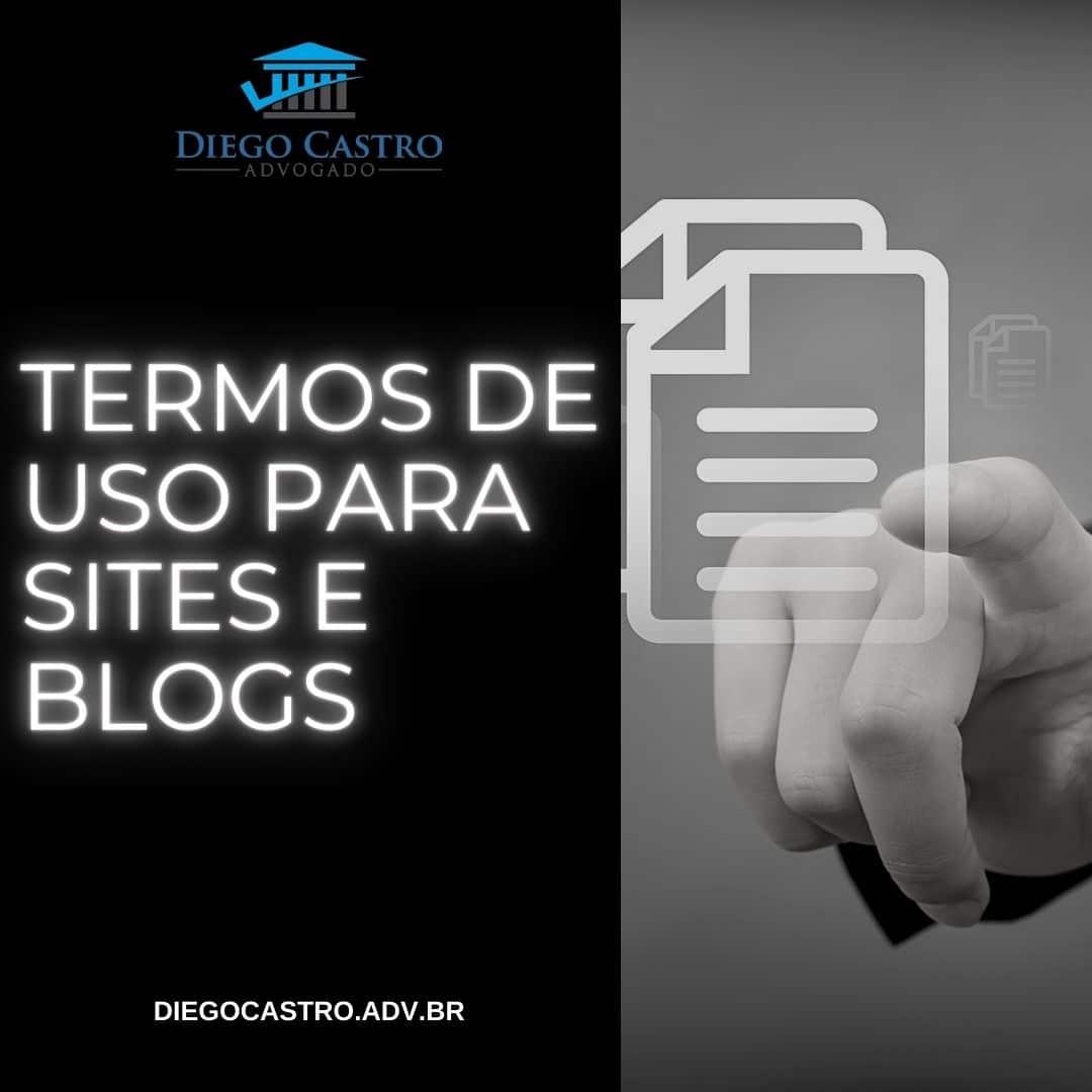 uma mão apontando um documento digital com o titulo termos de uso para sites e blogs