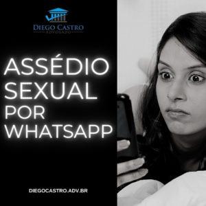 mulher olhando supresa para o celular com o titulo assédio sexual por whatsapp
