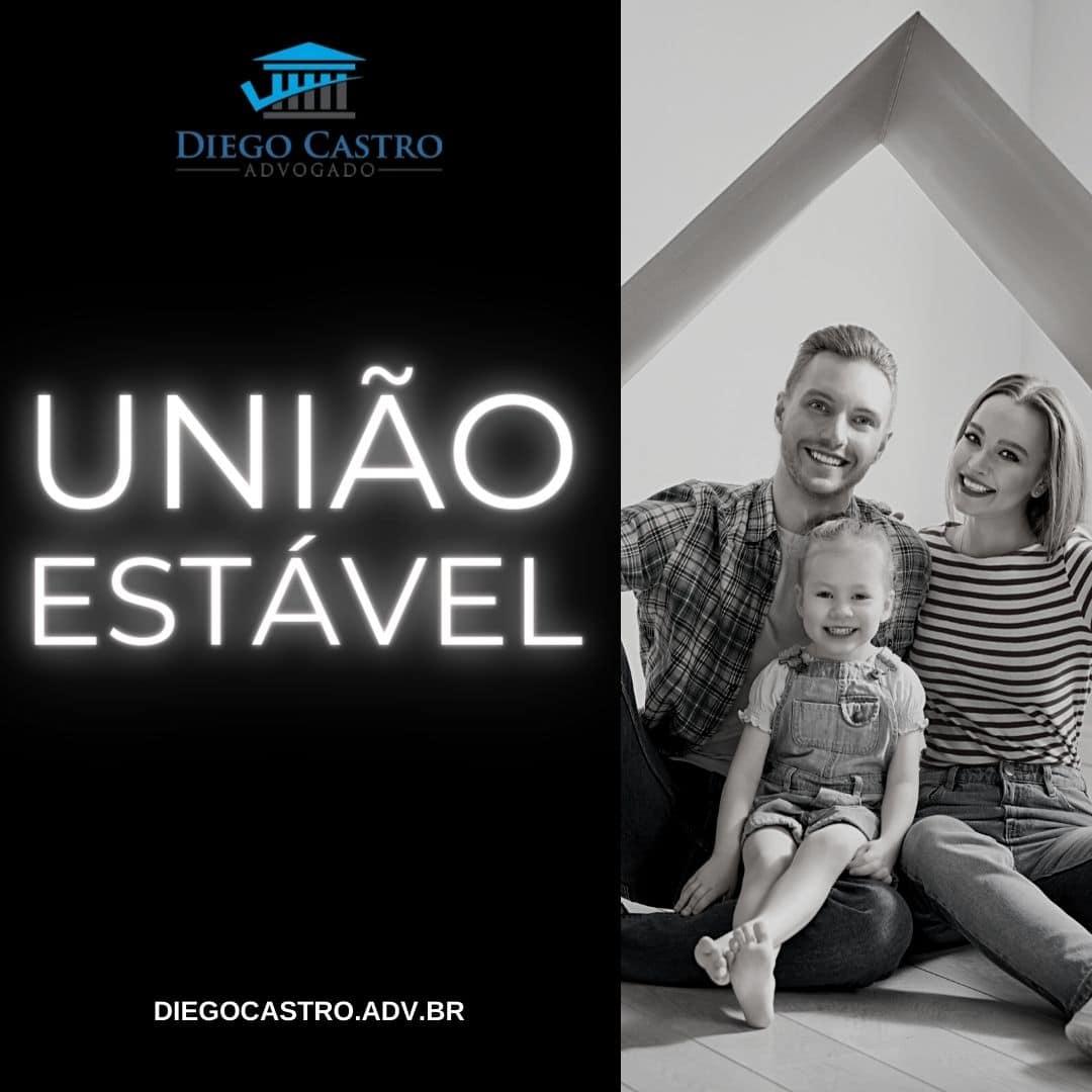 foto de uma família a direita em preto e branco e o titulo união estável em branco a esquerda