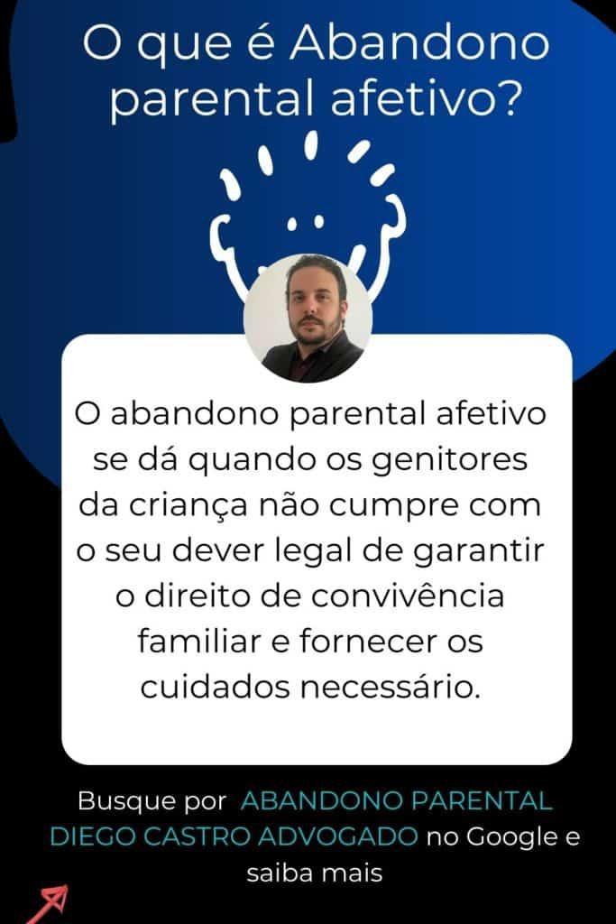 O abandono parental afetivo se dá quando os genitores da criança não cumpre com o seu dever legal de garantir o direito de convivência familiar e fornecer os cuidados necessário.