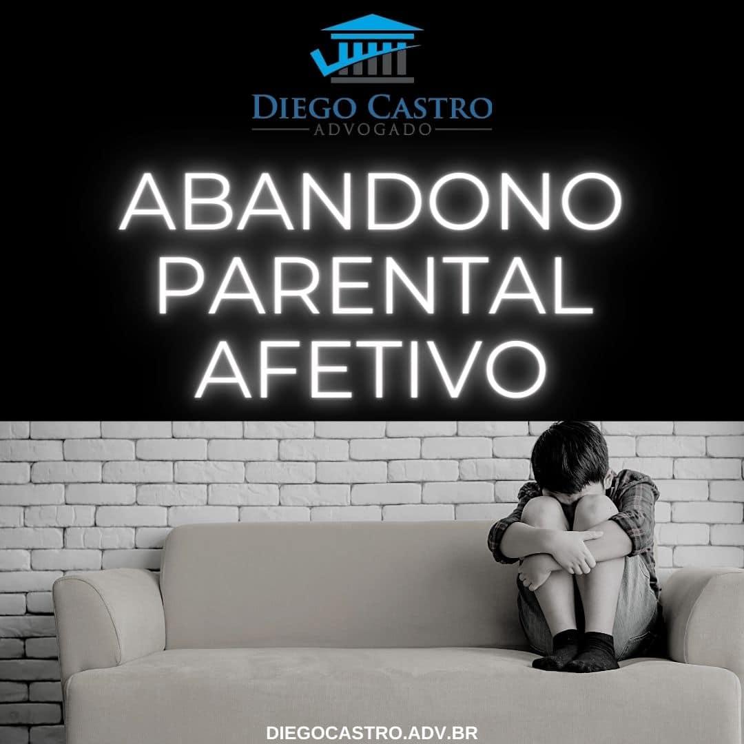 criança triste no sofá com o titulo Abandono parental afetivo